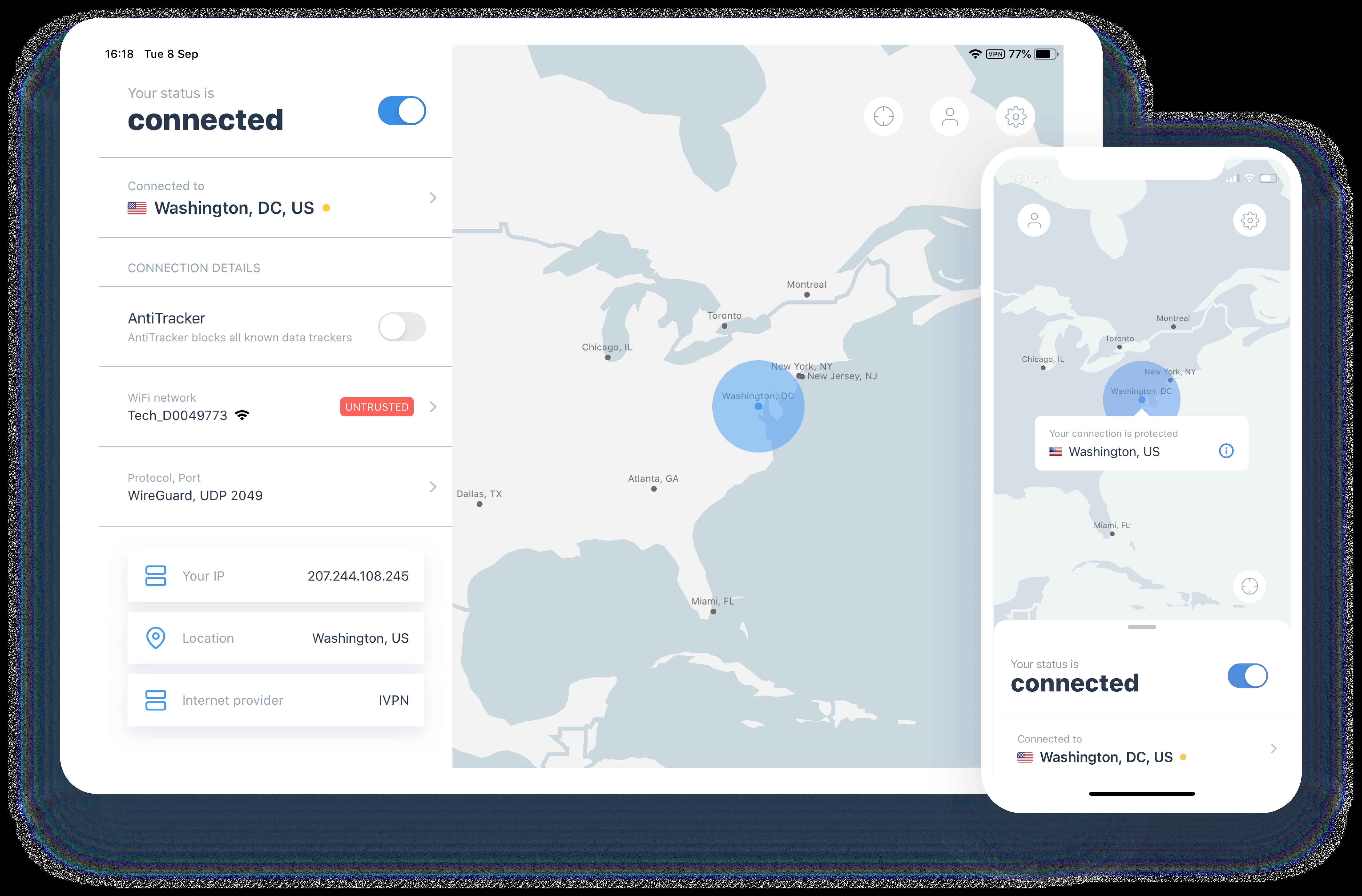 interactive map on ios ipados ivpn app