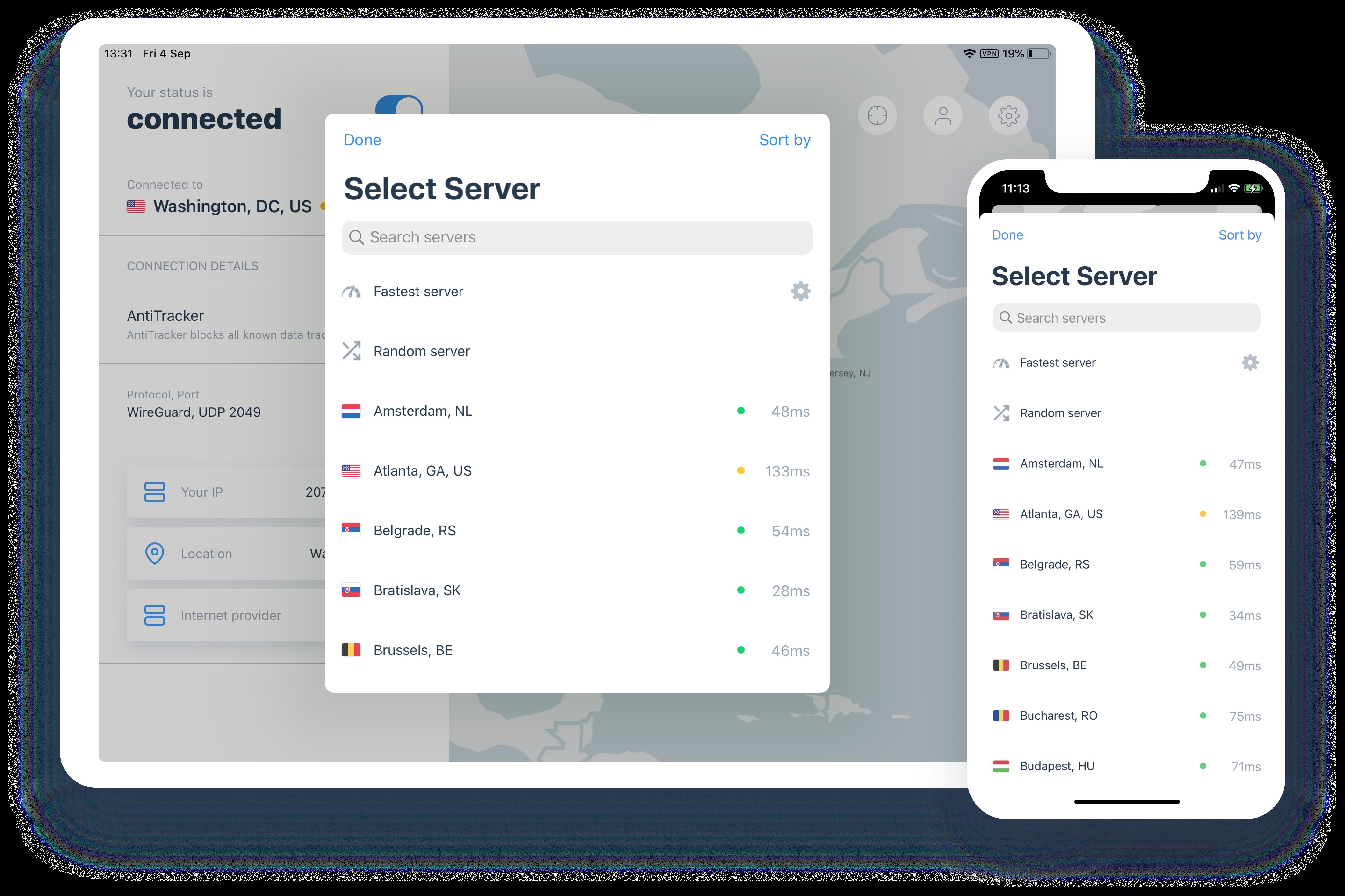 server selection on ios ipados ivpn app