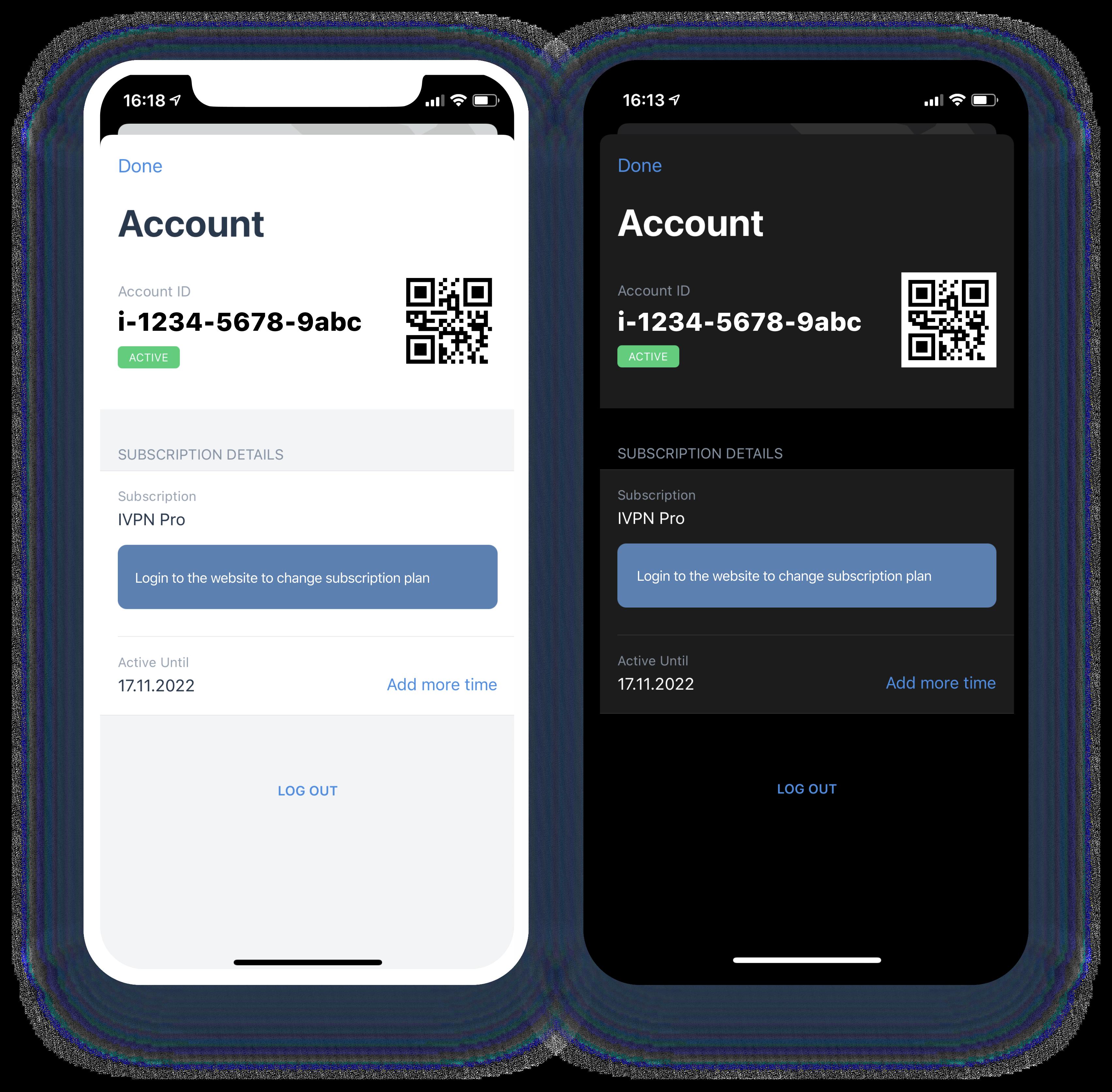 account management with qr code ios ipados ivpn app