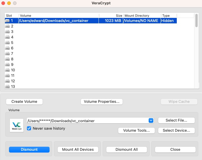 Virtualbox screenshot setting up hidden truecrypt partition