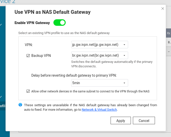 install qnap 5 - Use Vpn As Nas Default Gateway